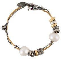 - Iosselliani - 'Silver Heritage' pearl bracelet - women - argento sterling placcato in oro - Taglia Unica - effetto metallizzato