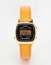 Casio - LA670WEGL-4A2EF - Orologio digitale con cinturino in pelle arancione effetto serpente