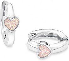 Prinzessin Lillifee 541985 - Orecchini ad anello, per bambina, a forma di cuore, in argento 925 rodiato e smaltato