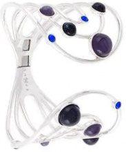 - Eshvi - 'Astro' cuff - women - rodio/glass - Taglia Unica - di colore blu