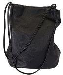 Singolo-tracolla Messenger Bag Handbag femminile a forma di secchio di colore puro stile retrò in pelle lavabile PU cinturino doppio