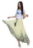 Kaxuyiiy donne Boemia fiore spiaggia elastico in vita maxi gonna a pieghe lunga Long Skirt