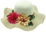 DATO 2016 estate nuovo grande cappello di paglia a tesa larga fiori artificiali donna spiaggia del cappello grande sole tesa