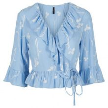 Y.A.S Floral Wrap 3/4 Sleeved Top Women Blue
