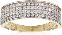 Citerna Anello da Donna, in Oro Giallo 9K, con Zirconia cubica, Taglio Brillante Rotondo, Misura 14