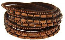 Kettenworld Bracciale in morbida ecopelle con strass decorativi in diversi colori & versioni, acciaio inossidabile, colore: marrone, cod. 370683
