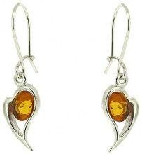 Orecchini a forma di cuore con ambra, colore: cognac