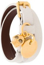 Alexander McQueen - double wrap skull bracelet - women - Leather - One Size - WHITE