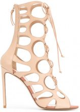 Francesco Russo - Sandali alla caviglia laser-cut - women - Calf Leather/Goat Skin/Leather - 37, 37.5, 39, 40, 38, 38.5, 39.5 - NUDE & NEUTRALS