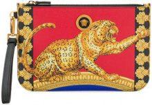 Versace - cheetah print pouch - women - Leather - One Size - MULTICOLOUR