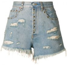 Gucci - Pantaloncini di jeans aderenti - women - Cotton/Calf Leather/Brass - 24, 25, 26, 27, 28, 29, 30, 31, 32 - BLUE
