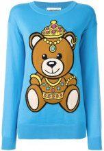 Moschino - bear intarsia jumper - women - Cotton - XS - BLUE