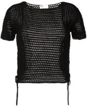 Red Valentino - cropped knitted top - women - Cotone - S, M - Nero