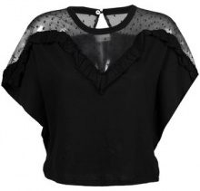 Red Valentino - lace panel blouse - women - Cotton/Polyamide - XS, S, M - BLACK