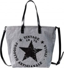 Borsa shopper in denim con stelle