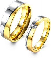 Anello per coppia in acciaio inox con fascia bicolore