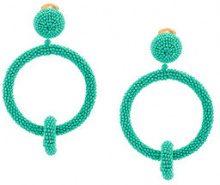 Oscar de la Renta - Orecchini con doppio cerchio - women - Brass/metal/copper/glass - OS - BLUE