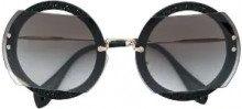 Miu Miu Eyewear - Occhiali da sole con montatura rotonda - women - Acetate/metal - OS - Nero