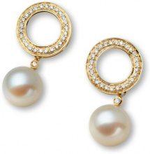 Orecchini in oro giallo 18 kt, pendenti con perla Miore M0513Y