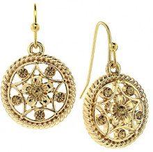 1928 Jewelry - Orecchini a pendente tondo, con cristalli topazio chiaro, colore: oro