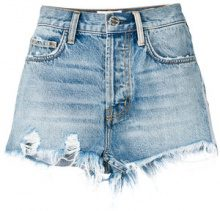 - Current/Elliott - Shorts denim con effetto consumato - women - Cotone - 24, 25 - Blu