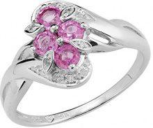 Ivy Gems Donna 925 argento Rotonda rosa Zaffiro