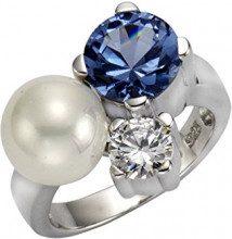 ZEEme Pearls–Anello da donna in argento 925rodiato acquamarina zirconi perla sintetica bianco 273270438–3, argento, 52 (16.6), cod. 273270438-3-052