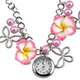 TRIXES Orologio da polso con braccialetto a catenella e simpatico charm floreale rosa