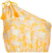 A Peace Treaty - Yuna one-shoulder print silk linen-blend top - women - Silk/Linen/Flax - S, M, L - YELLOW & ORANGE
