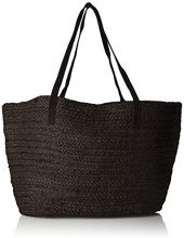 PIECES Pcgracia Straw Shopper - Borse a spalla Donna, Nero (Black), 5x35x55 cm (B x H T)