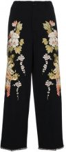 Gucci - Pantaloni floreali - women - Polyester/Viscose/Wool/glass - 40 - Nero