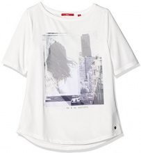 s.Oliver 14.607.32.7404, T-Shirt Donna, Avorio (Creme Placed Print 02D4), 34