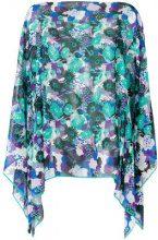 Emanuel Ungaro - printed cape blouse - women - Silk - OS - BLUE