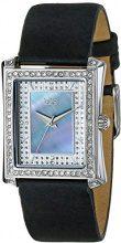 Burgi Orologio da donna Quarzo svizzero cristallo madreperla cinturino in pelle, colore: nero