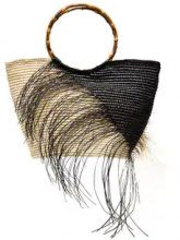 Sensi Studio - black and natural two tone frayed maxi straw tote - women - Bamboo/Straw - OS - Nero