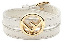 Fendi - Bracciale a doppio giro 'F is Fendi' - women - Calf Leather/Brass - S - WHITE