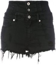 Diesel - high waisted shorts - women - Cotton/Polyester/Spandex/Elastane/Viscose - 27 - BLACK