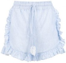 Martha Medeiros - striped shorts - women - Linen/Flax - 38 - Blu