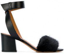 Givenchy - Sandali con cinturino alla caviglia - women - Mink Fur/Calf Leather/Leather - 36.5, 37.5, 38, 40 - BLACK