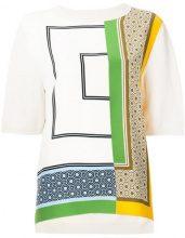 Tory Burch - patterned front fine knit T-shirt - women - Silk - S, M - NUDE & NEUTRALS
