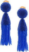 Oscar de la Renta - tassel drop earrings - women - Glass Fiber/Brass - OS - BLUE