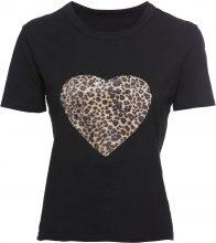 T-shirt con cuore leopardato (Nero) - RAINBOW