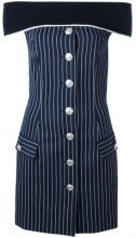 Pierre Balmain - pinstripe off-shoulder dress - women - Cotton/Polyamide/Spandex/Elastane/Viscose - 36 - BLUE