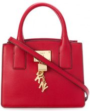 Donna Karan - small logo charm tote - women - Calf Leather - OS - RED