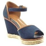 Sopily - Scarpe da Moda Espadrillas sandali alla caviglia donna finitura cuciture impunture tanga corda Tacco zeppa piattaforma 9.5 CM - Blu