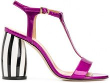 Marc Ellis - Sandali con tacco a righe - women - Leather - 40, 37, 38 - PINK & PURPLE