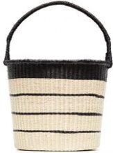 Sensi Studio - Striped straw bucket bag - women - Straw/Cotone - OS - NUDE & NEUTRALS