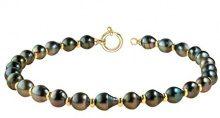 Pearls & Colors PC-9CT11 - Collier con catenina in oro giallo 9 kt, con perle coltivate di Tahiti, 42 cm