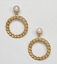 Ottoman Hands - Orecchini placcati oro con cerchio a catena e perla - Oro