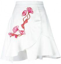 Carven - embroidered wrap skirt - women - Silk/Cotone/Acetate - 38 - WHITE